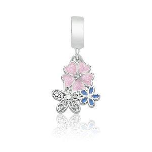 Berloque de Prata Floral Primavera com Zircônias