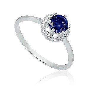 Anel de Prata Solitário Brilhante com Zircônia Azul Safira