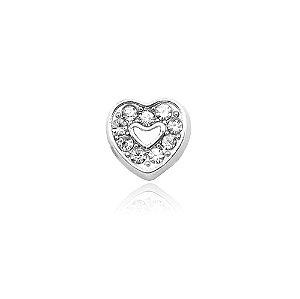 Mini Locket de Prata Coração com Zircônias