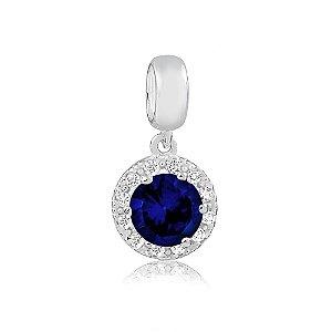Berloque de Prata Pingente Brilhante Azul Safira