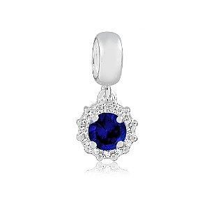 Berloque de Prata Ponto de Luz Radiante Azul Safira