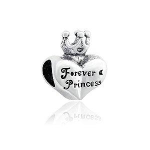 Berloque de Prata Coração Princesa para Sempre