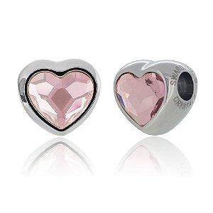 Berloque Swarovski Coração Rosa