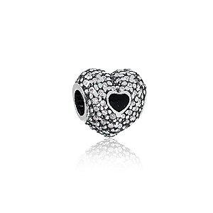 Berloque de Prata Separador Coração com Zircônias