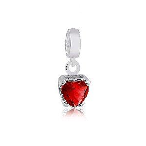 Berloque de Prata Coração Ponto de Luz Vermelho