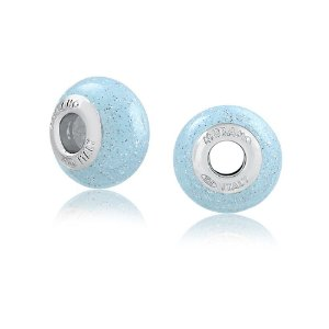 Berloque Murano de Prata Azul Glitter