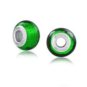 Berloque Murano de Prata Verde Metalizado