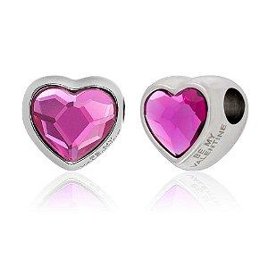 Berloque Swarovski Coração Rosa Fucsia