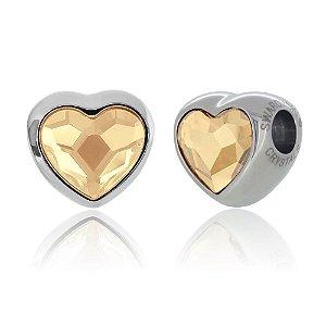 Berloque Swarovski Coração Dourado