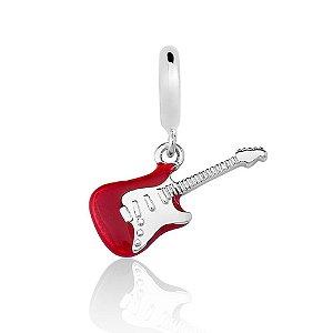 Berloque de Prata Guitarra Vermelha