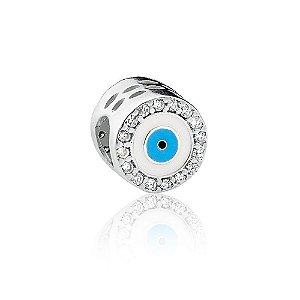 Berloque de Prata Separador Olho Grego com Zircônias
