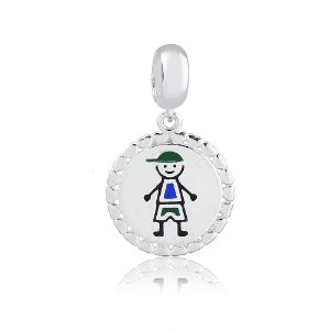 Berloque de Prata Pingente Medalha Menino