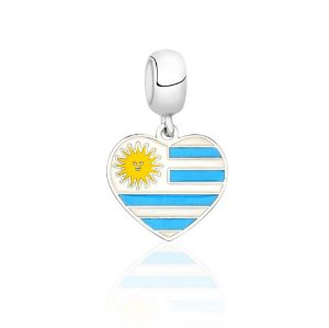 Berloque de Prata Bandeira do Uruguai