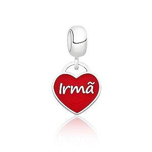 Berloque de Prata Coração Irmã Vermelho