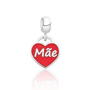 Berloque de Prata Coração Mãe Vermelho