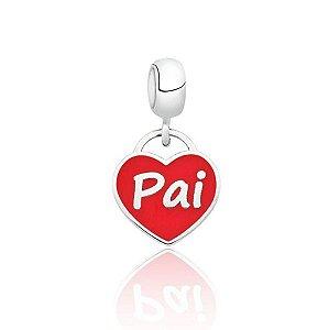 Berloque de Prata Coração Pai Vermelho