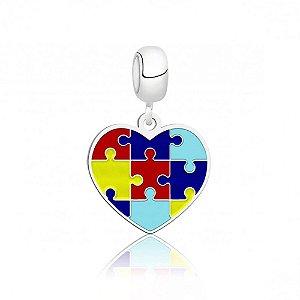 Berloque de Prata Pingente Coração Autismo
