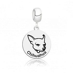 Berloque de Prata Cachorro Raça Chihuahua