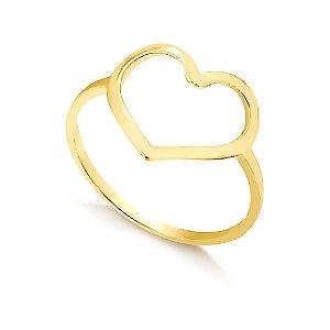 Anel Coração Vazado Folheado a Ouro