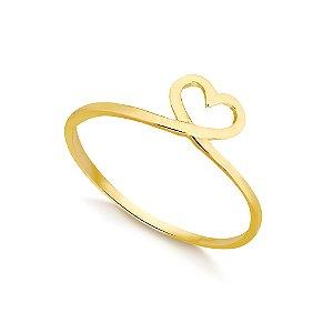 Anel Coração Trançado Folheado a Ouro