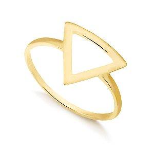 Anel Triângulo Folheado a Ouro