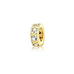 Berloque Separador Mini com Zircônias Cristal Folheado a Ouro