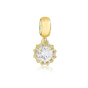 Berloque Ponto de Luz Radiante Cristal Folheado a Ouro