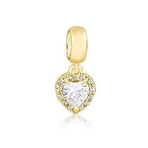 Berloque Pingente Coração Radiante Cristal Folheado a Ouro