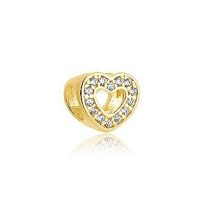 Berloque Coração Vazado com Zircônias Folheado a Ouro