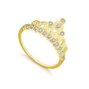 Anel Coroa  de Princesa com Zircônias Folheado a Ouro