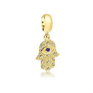 Berloque Mão de Fátima com Zircônia Azul Folheado a Ouro