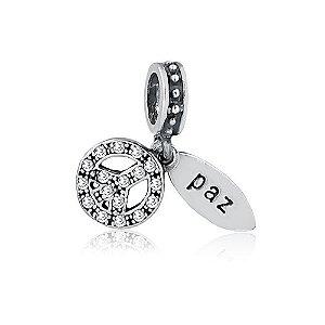 Berloque de Prata Símbolo Hippie Paz com Zircônias