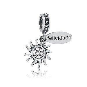 Berloque de Prata Sol Felicidade com Zircônias