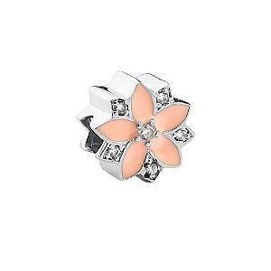 Berloque de Prata Separador Flor Rosa com Zircônias