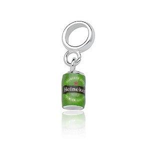 Berloque de Prata Lata de Cerveja Heineken