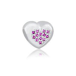 Berloque de Prata Separador Coração com Zircônias Rubi