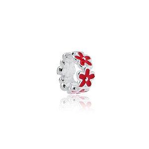 Berloque de Prata Separador Florzinhas Vermelhas
