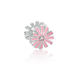 Berloque de Prata Separador Flor Rosa com Zircônia Rosa