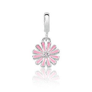 Berloque de Prata Flor Rosa com Zircônia Rosa