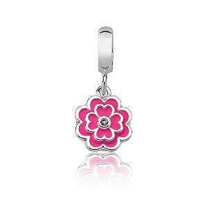 Berloque de Prata Pingente Florzinha Rosa com Zircônia