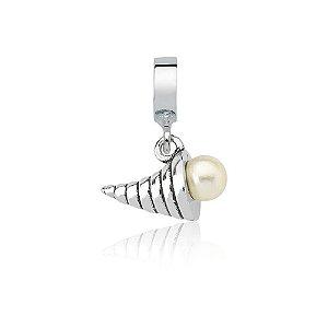 Berloque de Prata Concha Espiral com Pérola
