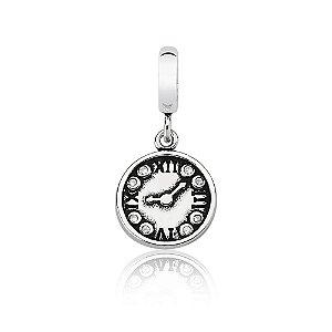 Berloque de Prata Relógio com Zircônias