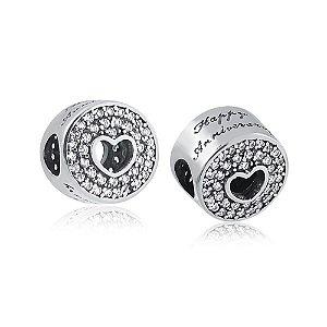 Berloque de Prata Separador Coração com Zircônias Feliz Aniversário