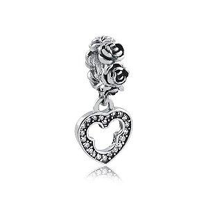 Berloque de Prata Pingente Coração Mickey com Zircônias