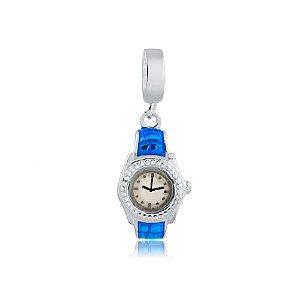 Berloque de Prata Relógio Azul