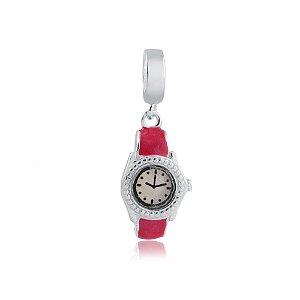 Berloque de Prata Relógio Rosa