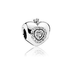 Berloque de Prata Coração com Coroa Princesa com Zircônia