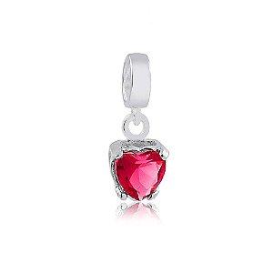 Berloque de Prata Coração Ponto de Luz Rosa