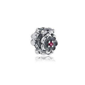 Berloque de Prata Separador Florzinha com Zircônias Rosa