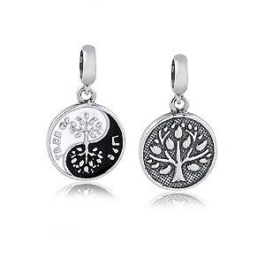 Berloque de Prata Yin-Yang Árvore